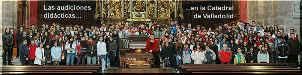 PILAR CABRERA with pupils at Valladolid's Cathedral...